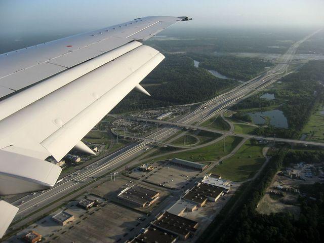 ヒューストン国際空港への着陸直前