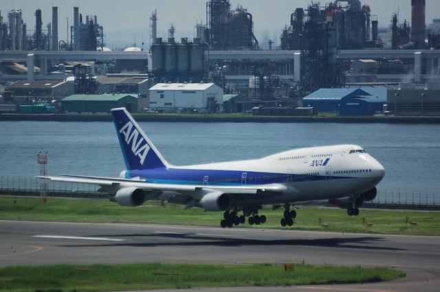 全日空 Boeing747-400 着陸