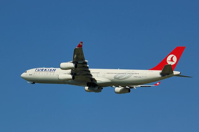 トルコ航空 Airbus A340-300 浅い角度で上昇