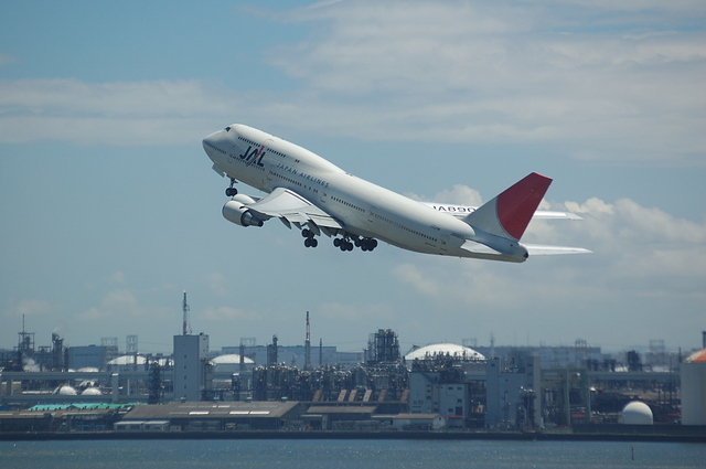 JAL Boeing747-400 いってらっしゃい