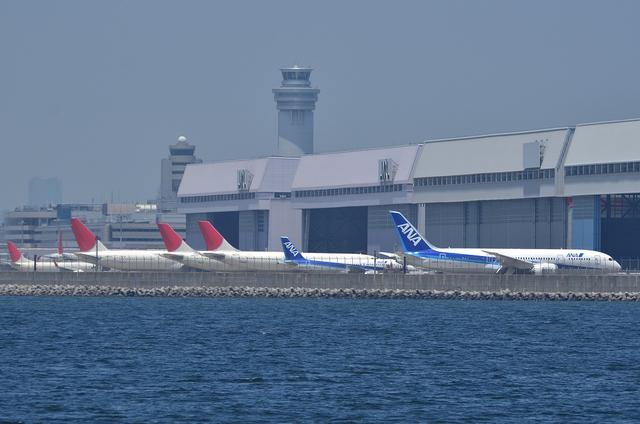 ハンガー前に並ぶ飛行機たち