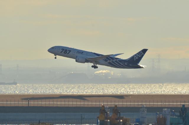 飛行機と影